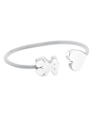 Tous Sterling Silver Bear & Heart Mesh Open Cuff
