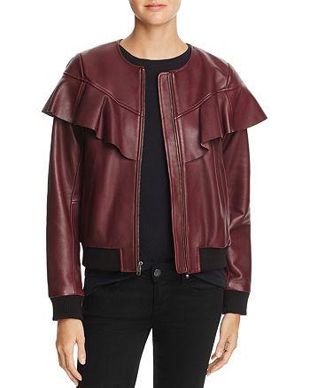 Parker - Hera Ruffled Leather Bomber Jacket