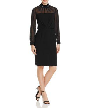 Adrianna Papell Embellished-Neck Crepe Dress 2704099