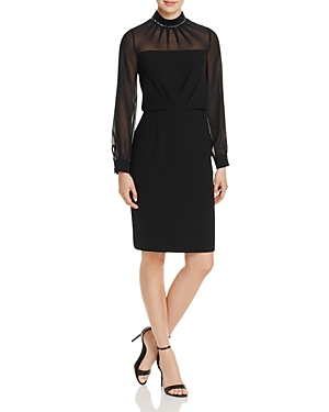 Adrianna Papell Embellished-Neck Crepe Dress