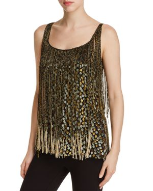 Elie Tahari Jacobia Metallic Fringe Flocked Dot Top