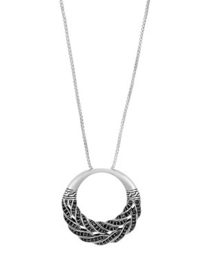 John Hardy Sterling Silver Classic Chain Box Chain Pendant Necklace with Black Sapphire, 32