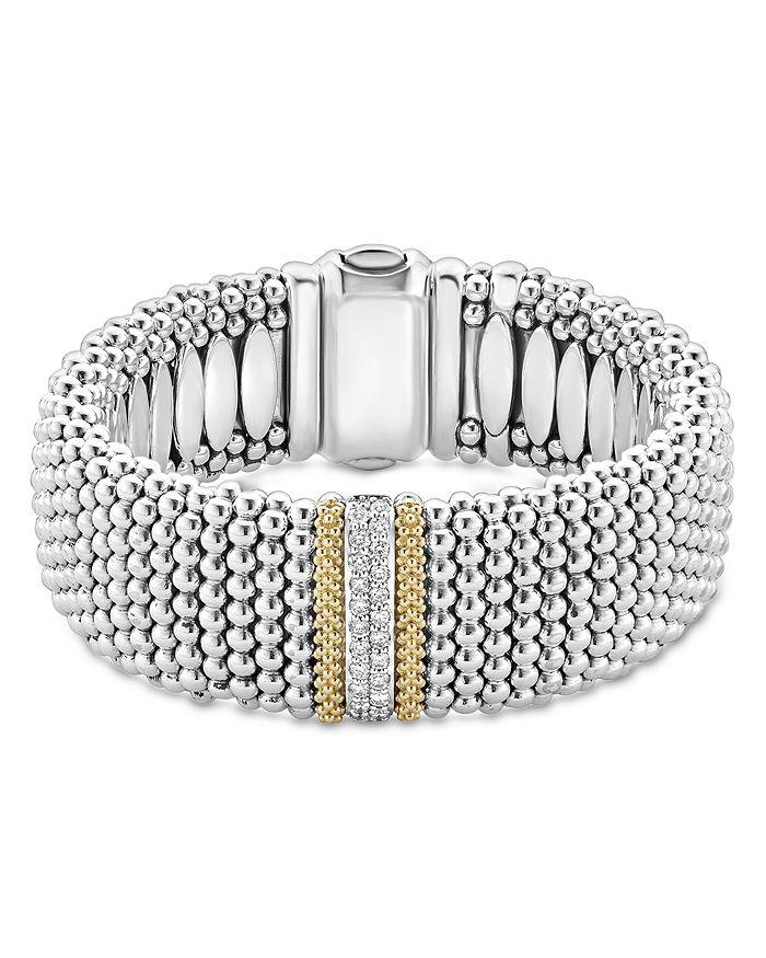 LAGOS - 18K Gold & Sterling Silver Diamond Lux Single Station Bracelet, 23mm
