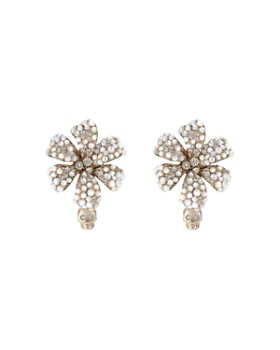 Gucci - 18K White Gold Flora Hoop Earrings with Diamond & Mother-of-Pearl