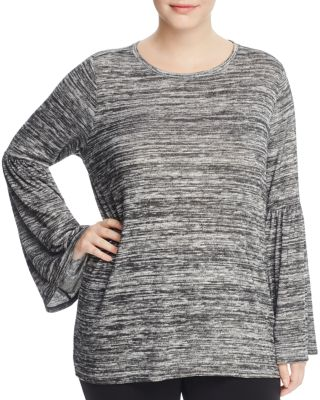 VINCE CAMUTO PLUS Heathered Bell-Sleeve Blouse, Plus Size in Brown