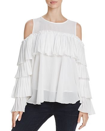 Alpha and Omega - Pleated Cold-Shoulder Top