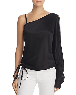 T by Alexander Wang One-Sleeve Draped Satin Top