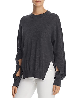 T by Alexander Wang Cutout-Sleeve Wool Sweater