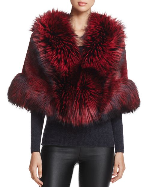 Maximilian Furs - Feathered Saga Fox Fur-Trim Mink Cape