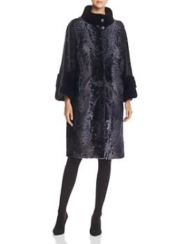 Maximilian Furs - Lamb Shearling Coat with Mink Fur Collar
