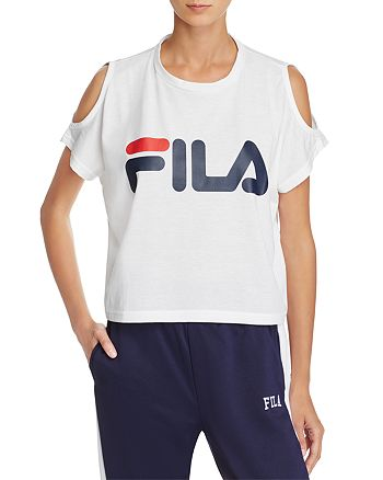 FILA - Nikki Cold-Shoulder Cropped Logo Tee