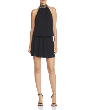 Ramy Brook Mila Embellished-Collar Silk Dress