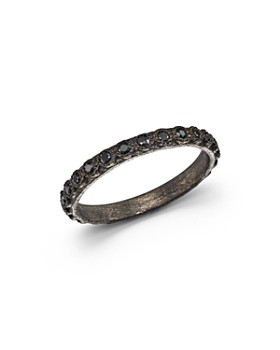 Armenta - Blackened Sterling Silver Old World Black Sapphire Stacking Ring