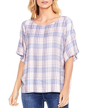 Vince Camuto Daydream Plaid Drop Shoulder Top
