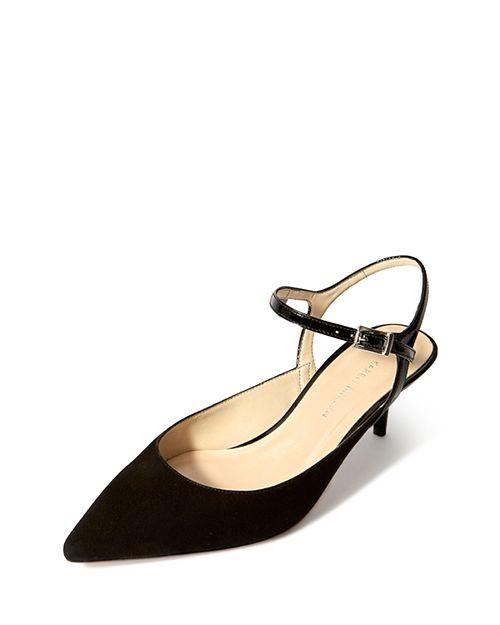 KAREN MILLEN - Women's Court Leather Kitten Heel Pumps