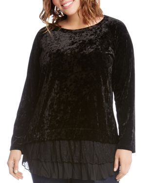 Karen Kane Plus Velvet Contrast Tiered Hem Top