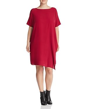 Eileen Fisher Plus Asymmetric Overlay Silk Dress