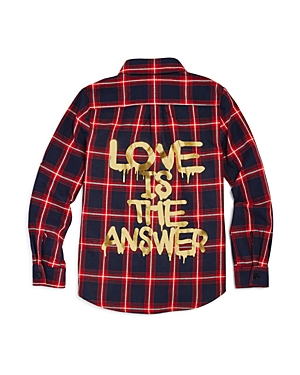 Vintage Havana Girls Love Is the Answer Graphic Flannel Shirt  Big Kid
