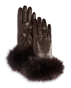 Bloomingdale's Fox Fur Cuffed Leather Gloves - 100% Exclusive_0