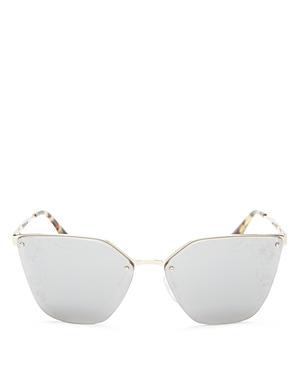 13014fb531c94 ... sweden prada squared cat eye sunglasses w floral lenses silver gray  mirror aed52 c8385 ...