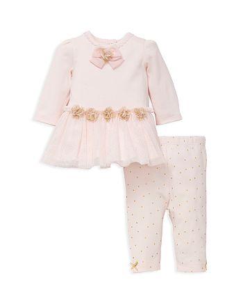 Little Me - Girls' Rose Appliqué Dress & Leggings Set - Baby