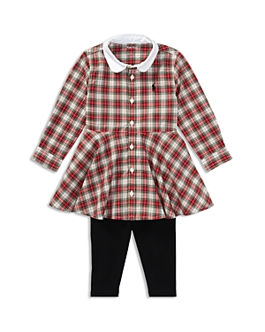Ralph Lauren Childrenswear Girls' Tartan Shirt Dress & Leggings Set - Baby