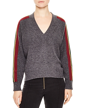 Sandro Artic Striped-Sleeve Sweater