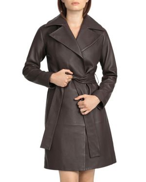 BAGATELLE CITY Bagatelle. City Leather Trench Coat in Espresso