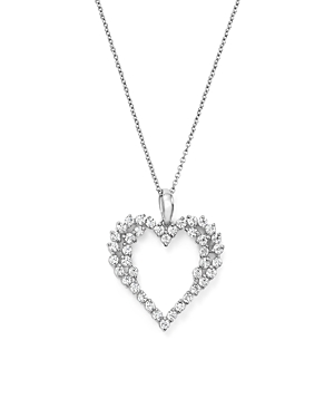 Bloomingdale's Diamond Heart Pendant Necklace in 14K White Gold, .50 ct. t.w. - 100% Exclusive