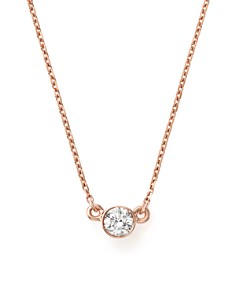 Bloomingdale's - Diamond Bezel Set Pendant Necklace in 14K Rose Gold, .25 ct. t.w. - 100% Exclusive