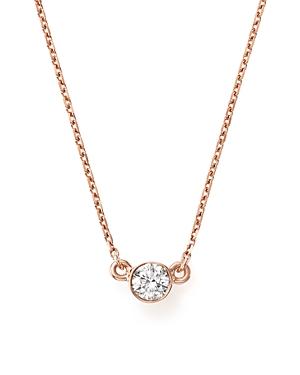 Bloomingdale's Diamond Bezel Set Pendant Necklace in 14K Rose Gold, .25 ct. t.w. - 100% Exclusive