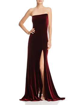 AQUA - Asymmetric Strapless Velvet Gown - 100% Exclusive