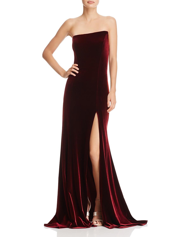Aqua Asymmetric Strapless Velvet Gown 100 Exclusive Bloomingdales