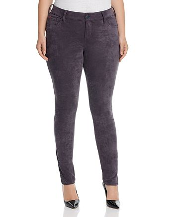SLINK Jeans Plus - Faux Suede Skinny Jeans in Charcoal