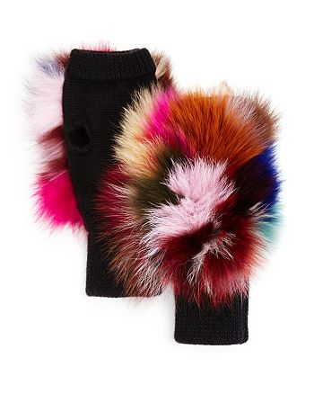 Jocelyn - Fox Fur Fingerless Knit Mittens