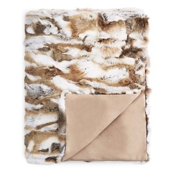 $Adrienne Landau Natural Goma Rabbit Fur Throw - Bloomingdale's