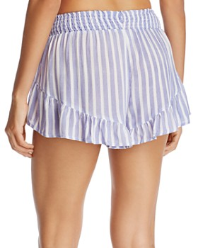 Surf Gypsy - Striped Ruffle Swim Cover-Up Shorts