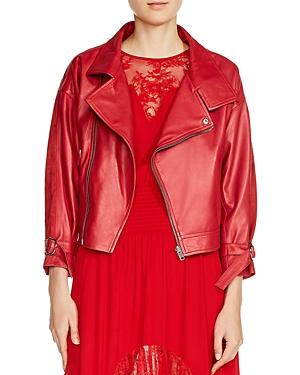 Maje Belina Suede-Panel Leather Moto Jacket