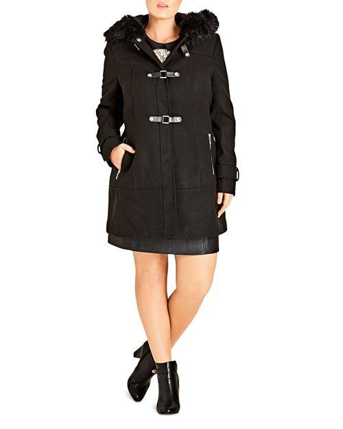 City Chic Plus - Wonderland Faux Fur-Trimmed Coat