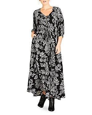City Chic Bloomsbury Floral Print Maxi Dress