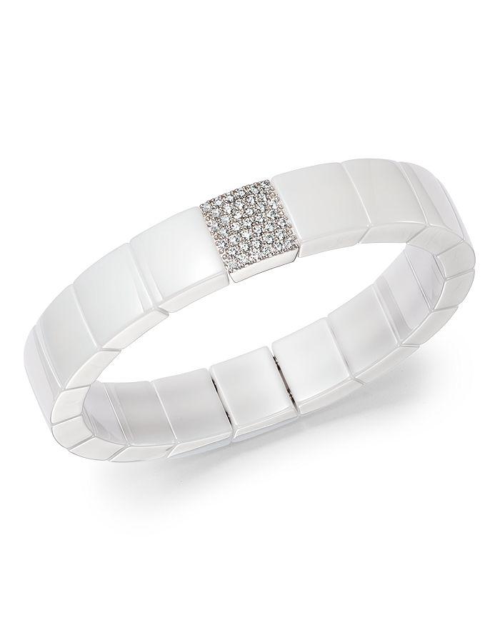 Roberto Demeglio - 18K White Gold & White Ceramic Domino Square Stretch Bracelet with Diamonds