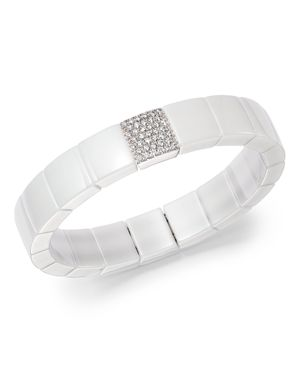 Roberto Demeglio 18K White Gold & White Ceramic Domino Square Stretch Bracelet with Diamonds
