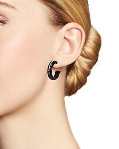 Roberto Demeglio - 18K White Gold & Black Ceramic Pura Diamond Hoop Earrings