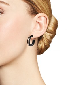 Roberto Demeglio - 18K Rose Gold & Matte Black Ceramic Pura Champagne Diamond Hoop Earrings