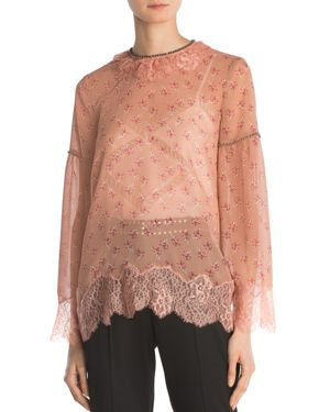 The Kooples Candy Flowers Pes Lace Top
