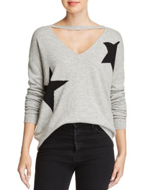 Pam & Gela Star V-Cutout Sweater