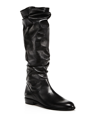 Stuart Weitzman Women's Flatscrunchy Leather Tall Boots