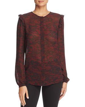 Michael Michael Kors Lace Print Ruffle Top