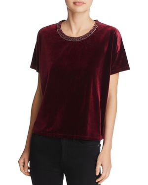 The Kooples Velvet & Embroidery Tee - 100% Exclusive