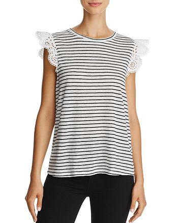Joie - Acenath Striped Lace Cap-Sleeve Top